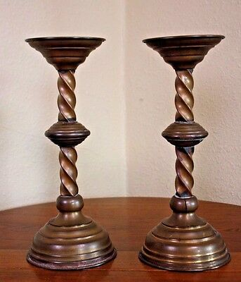 Antique Brass Distressed Vtg Pr Two Metal Candlesticks Bobeche Twisted Holders