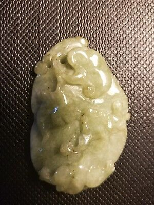 Rare Jade Antique Green Jadeire Qing DY Dragon Pendant