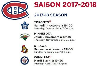 5 GAME PACK Montreal Canadiens Tickets 2017-2018 - Center Ice Pair 319-C.