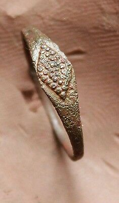 L6  Ancient Medieval Bronze Ring With Decoration  Quality  D=17mm 0,7g