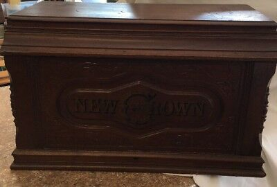 Antique Wood Sewing Machine Cover Lid from A New Crown