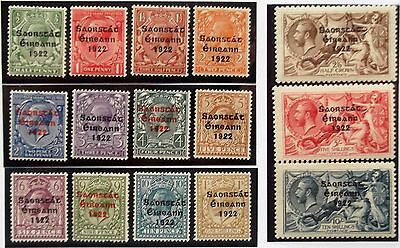 (A344) Ireland 1922 #52-66 Set of (15) MH.