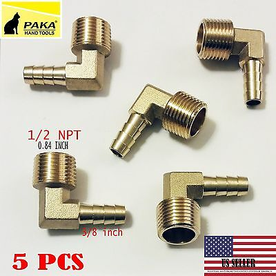 "5PC-3/8"" HOSE BARB ELBOW X 1/2 MALE NPT Brass Pipe Fitting Thread Gas Fuel ..."