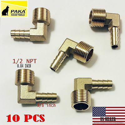 "10X-3/8"" HOSE BARB ELBOW X 1/2 MALE NPT Brass Pipe Fitting Thread Gas Fuel ..."