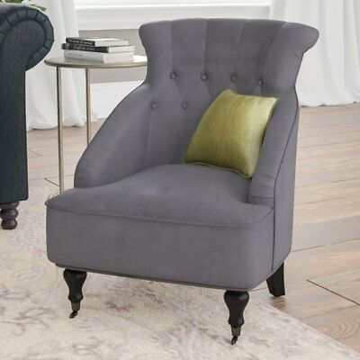 Vintage Armchair Furniture Living Room Antique Velvet Fabric Chair Wooden Legs