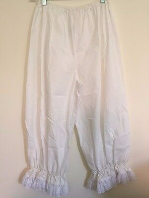 Victorian Bloomers White Lady Pantaloons Ladies Renaissance Elastic w/Lace