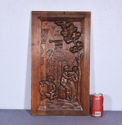 *Vintage French Deeply Carved Architectural Panel Solid Oak w/Drinking Scene