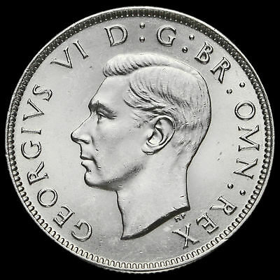 1944 George VI Silver Two Shilling Coin / Florin, A/BU
