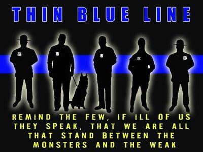 Police Poster Police Motivation Poster Thin Blue Line 18x24 (MOTIVATION34)