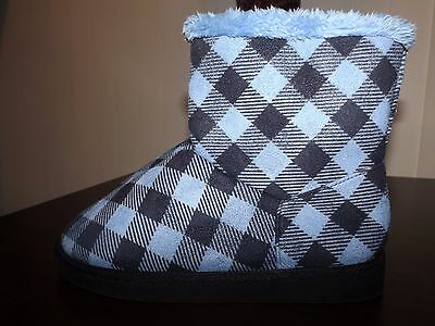 Vera Bradley Alpine Check Blue/Black Cozy Booties Slippers Women's Small 5-6 NEW