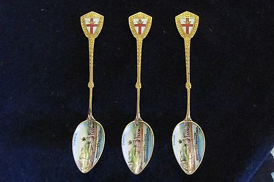 Antique German Enamel/Alpacca Souvenir Spoons 1915