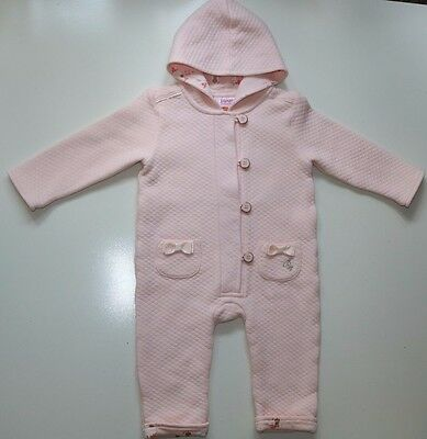 Ted Baker- Pink Bunnies Soft Cotton Hooded Snowsuit All-In-One Girl 12-18 Months