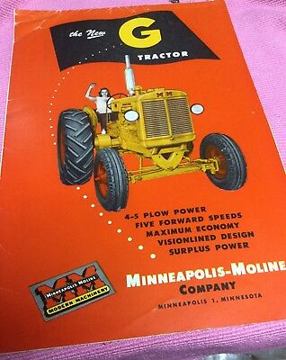 Vintage Minneapolis Moline Advertising Booklet Brochure The New G Tractor