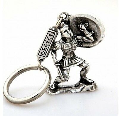 Ancient Greek Themed Keyring Key Chain - Leonidas The Spartan 300 Silver Zamac