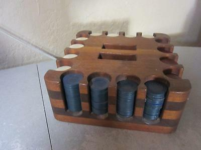 Vintage SQUARE WOODEN CADDY RACK  WITH POKER CHIPS SET
