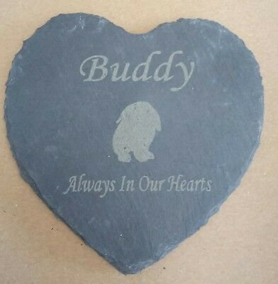 Personalised Engraved Slate Heart Pet Memorial Grave Plaque Floppy earred Rabbit