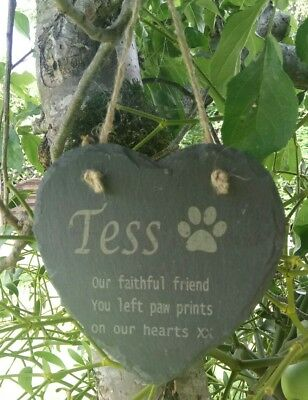 Personalised Engraved Slate Stone Heart Pet Memorial Grave Marker Plaque paw