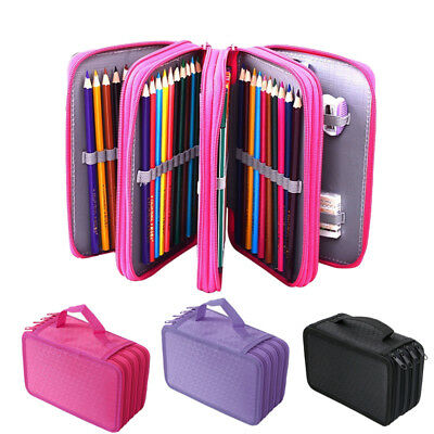 Large Pen Pencil Cases Stationery Pouch Bag Case School/College/Uni BLACK PINK