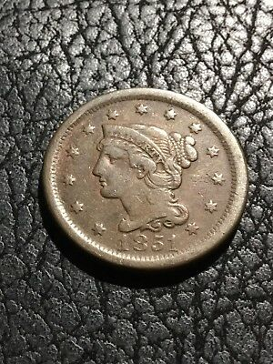 1851 Braided Hair Large Cent. F+.  INV#5363
