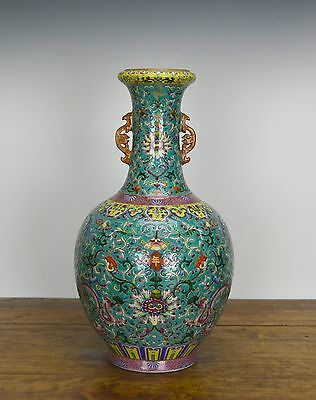 Superb Chinese Enamel Floral Turquoise Ground Porcelain Vase