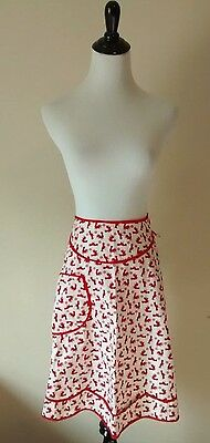 Vintage Red Rooster Cotton Kitchen Half Apron