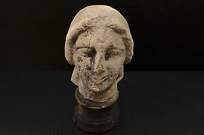 "Ancient Roman ? Greek ? Medieval ? Stone Bust  Old Museum Mount - 9.5"" tall -"