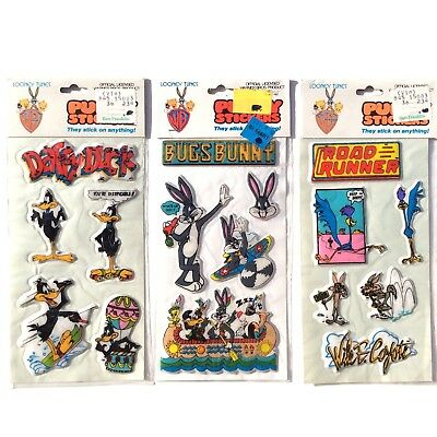 Lot Of 3 Vtg 1982 LOONEY TUNES Puffy Stickers Wile E Coyote Bugs Bunny Daffy NOS