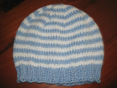 Baby Beanie 3-6 months Blue/White Hand Knitted BRAND NEW