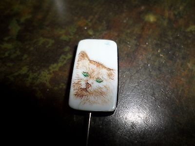 Vintage Carved Painted Cat Feline Stick Pin Brooch Ebony Wood & Porcelain