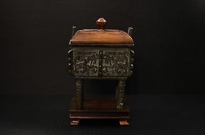 Chinese 18th Century Qing Dynasty Bronze Censer w/Antique wooden lid and stand