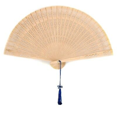 SCENTED SANDALWOOD FAN Hand Folding Pocket Purse Asian Feng Shui Blue Tassle NEW