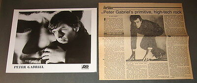PETER GABRIEL—1970s PUBLICITY PHOTO AND 1982 PRESS CLIPPING