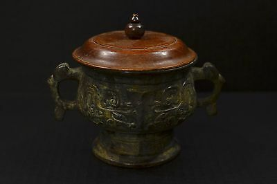 Chinese 18th Century Qing Dynasty Bronze Censer w/Antique wooden lid