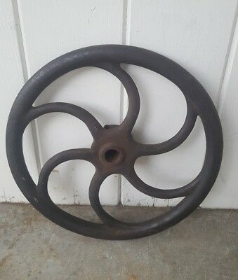 "Antique 16"" Tractor Steam Engine Cast Iron Steering Wheel Steampunk Rotisserie"