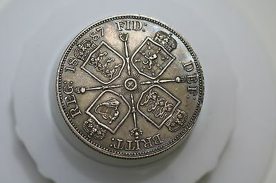 Uk Gb Double Florin 1887 Arabic Unusual Lovely Details & Toning A69 #k6460