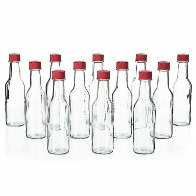 12 Pack - 5 Oz Empty Clear Glass Hot Sauce Bottles with Red Caps and Drip Tops,