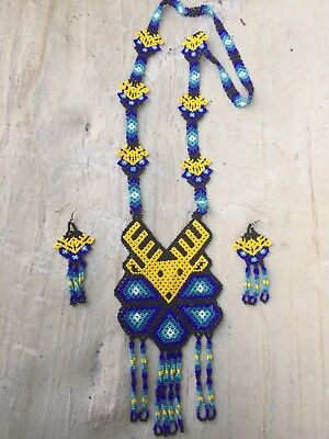 Mexican Huichol Beaded Deer Necklace UNISEX - Native Beaded Necklace