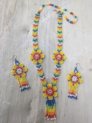 Mexican Huichol Flower Necklace Set With Earrings