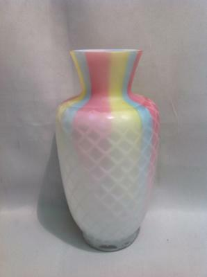 Antique Rainbow Diamond Quilt Air-Trap Mother-Of-Pearl Satin Glass Vase