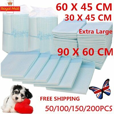 50-500Pcs 60 x 45cm Dog Puppy Cat Training Pads Pad Wee Wee Floor Toilet Mats UK