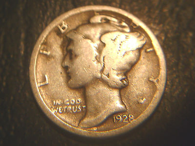 1928-D Mercury Dime In Very/good Condition.rare.add To Set Or Collection.