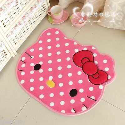 NEW Kitty Cat Red Bow Cute Big Head floor Mat Rug Skidproof Door Mat PINK