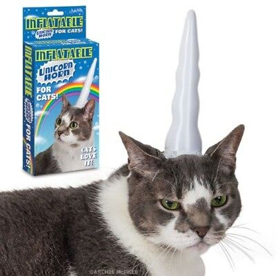 (1, Multicolour) - Inflatable Unicorn Horn for Cats. Accoutrements. Brand New