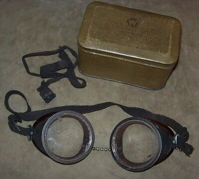 Vintage Willson Goggles Storage Tin With Goggles