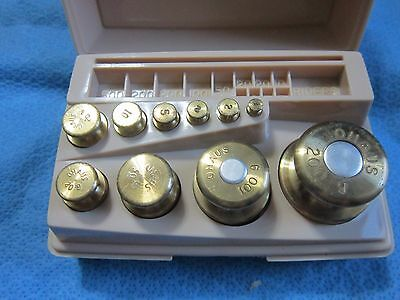 Vintage Ohaus Sto-A-Weigh Calibration 1g - 200g Weight Set - 10 pieces