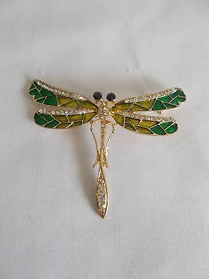 Yellow Gold Plated Crystal Rhinestone Enamel Dragonfly Pin Brooch