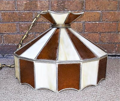 Vintage Antique Stained Slag Glass Leaded Mission Deco Ceiling Light Fixture