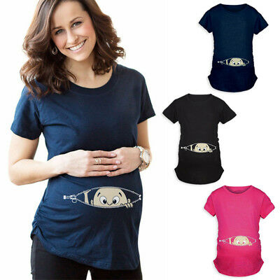 Cartoon Baby Print Staring Women Maternity Pregnant Short T-shirt Funny Top
