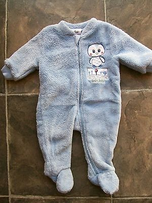 BNWNT Baby Boy's Blue Coral Fleece Coverall/Romper/All In One Size 000