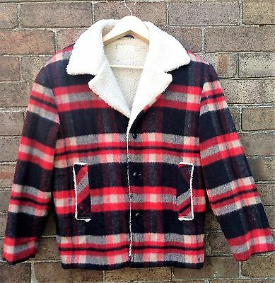 Vintage, Retro Staroup Wool Fur Lined Lumber Jacket, Medium Black And Red